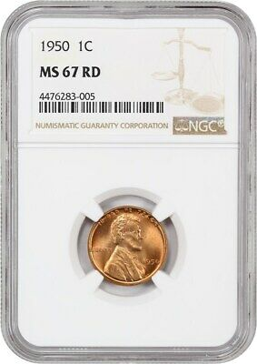 1950 1c NGC MS67 RD - Lincoln Cent