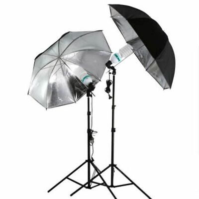 Soft Black Silver Umbrella Reflective Photo Studio Reflector Flash Light Stand