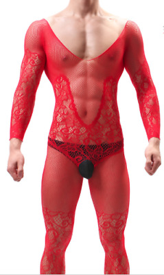 Mens Red Floral Gay Silk Lace Full Body Stocking Pantyhose Fetish Underwear Sexy