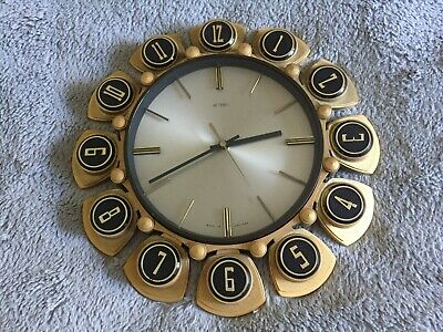 Vintage Metamec Gold Sun Star Burst Wall Clock ~ 1970s Retro ~ Working