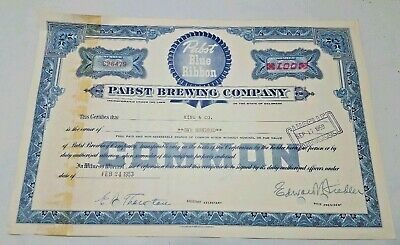 Vintage Pabst Blue Ribbon Beer 1953 Stock Certificate King & Co 100 Shares