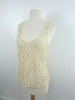 Elie Tahari Ivory Crochet Tank Top Womens M Cami Lined Sleeveless