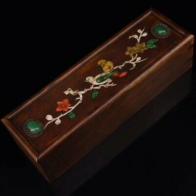 Chinese Qing Dynasty Old Rosewood handmade  Gem Jewelry Box A