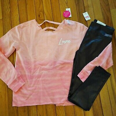 NWT Justice Girls Outfit Love Sweatshirt/Shine Leggings Size 14 16