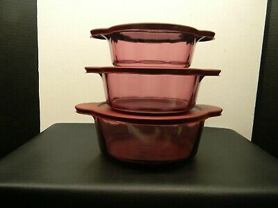 Corning Cranberry Visions Casserole bowls with storage lids