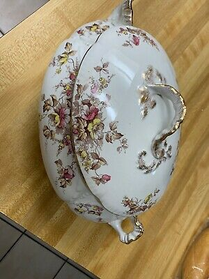 Flowers Art Pottery Two Handled Lidded Soup Tureen, Have Small Cracks