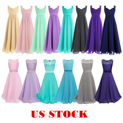 US Flower Girl Dress Kid Pageant Wedding Bridesmaid Formal Party Lace Long Dress