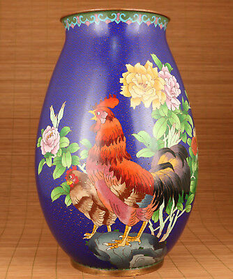 Antique rare Old Cloisonne Hand Painting Cock Flower Statue Vase Home Decoration