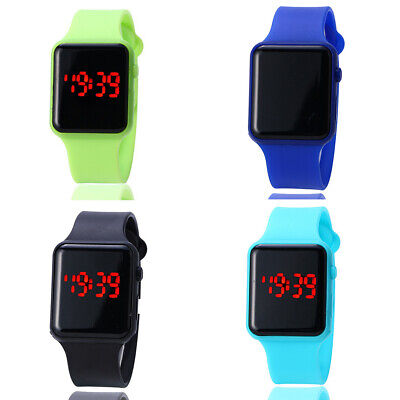 Children LED Digital Watch Candy Color Square Glass Kid Casual Sports Wristwatch