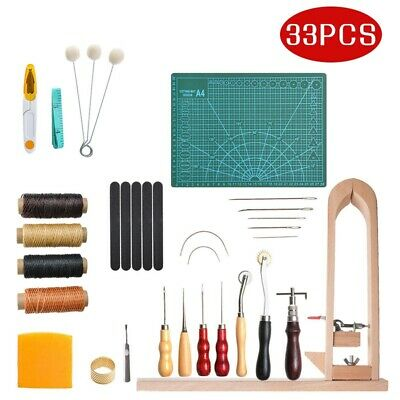 33*Leather Craft Kit Punch Working Tools Stitching Carving Sewing Saddle Groover