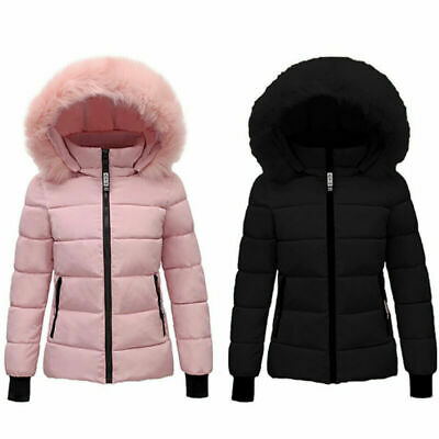 Puffer Womens Coat Hooded Quilted Fur Jacket Collar Ladies Parka Outwear Winter