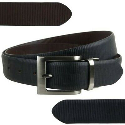 """Mens Reversible 1.25"""" Wide Leather Belt by Mala Leather; Striped Collection up t"""
