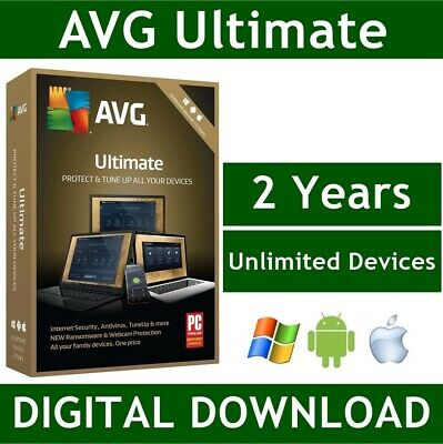 Avg Ultimate 2020, 2 Years - For Unlimited Devices, Windows, Mac, Android No Cd