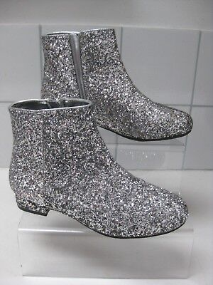 M&S KIDS girls shiny glitter sparkle ANKLE BOOTS size UK 3 zip party christmas