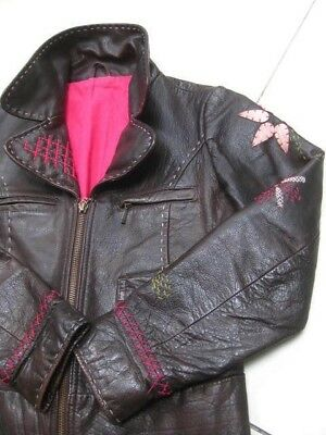 Girls M&S brown real leather COAT BIKER JACKET size age 6 7 years embellished