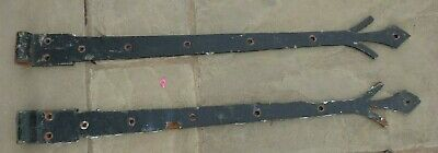 Pair of Old Black Smith Made Metal Iron Door Hinges