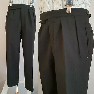 Vtg 1960s Pleated Tapered Button Fly Black Wool Trousers W31 L30 LB16