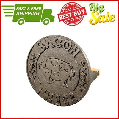 BBQ Cast Iron Cookware Skillet Griddle Bacon Press Round Vintage Antique Grill