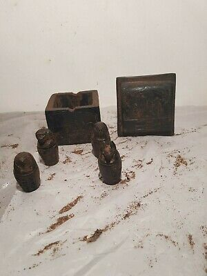 Ancient Egyptian Rare Antique 4canopic jars + Box God Isis Anubis1580-1590BC