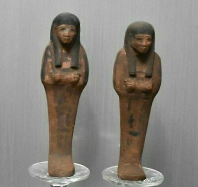 Rare ancient egyptian antique pair of faience ushabti 1550-1069 bc