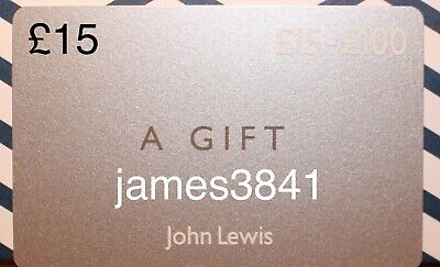 £15 Gift Card For John Lewis & Partners Home Clothing Gifts