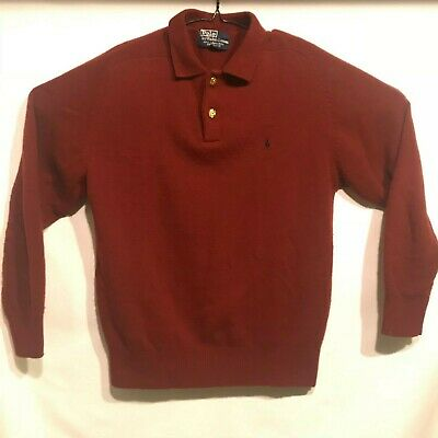 Polo Ralph Lauren Mens Large 100% Lambswool Maroon Sweater Collared Gold Buttons