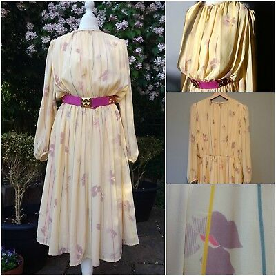 VINTAGE Gina Bacconi midi DRESS 70s 80s yellow 12 floral bourgeois chic