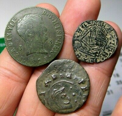 Lot 3 Dated Pirate Treasure Cobs Spanish Maravedis Colonial Old Coins (10)