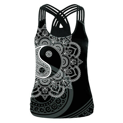 Woman Sleeveless Vest Tai chi mandala Printed Back Cross Tank S-XL Top