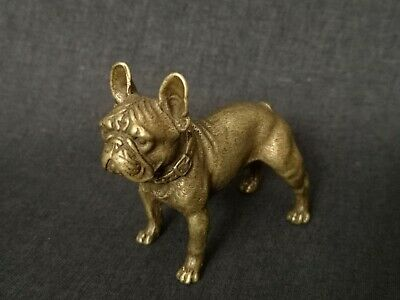 Collection Old China Bronze Carving Lovely Dog Statue Paperweight Decoration