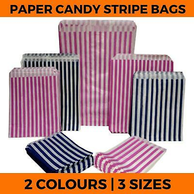 Candy Stripe Paper Bags - Favour Sweets Gift Shop Party  - Small Medium Large