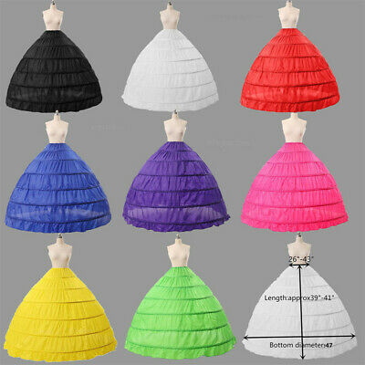 6 Hoop Wedding Bridal Petticoat Crinoline Underskirt Full Slip Ball Gown Skirt