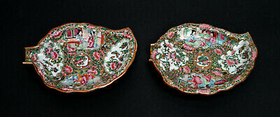 Two Antique Chinese Canton Famille Rose Medallion Leaf Dishes