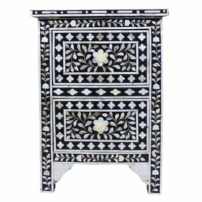 Handmade MOP Inlay Bedside Table Nightstand