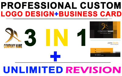 3 In 1 Professional Custom ⭐Logo Design + Business Card⭐ + ⭐Unlimited Revisions⭐