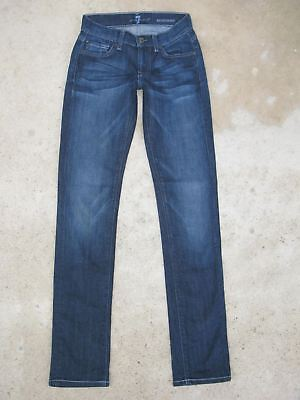 7 For All Mankind Roxanne Slim Skinny Jeans Taglie 23 Scuro Affliggere W Stretch