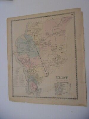 TOWN OF ELIOT MAINE ORIGINAL  LATE 1800s  MAP, F W BEERS ATLAS 14x16