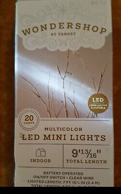 NEW MULTI Wondershop 20 Count LED Mini Lights Multicolor Indoor Battery Operated