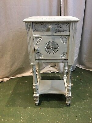 Revived French Antique White Marble Top Pot Cabinet
