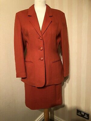 Vintage 1980's Alexon Wool Orange Power Skirt Suit Size M Belt
