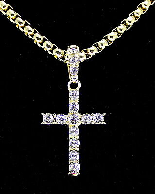 Men Women Iced Cross Cz Pendant 14k Gold Plated with Venetian Necklace Hip Hop