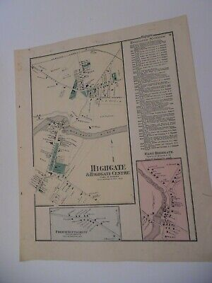 VINTAGE Hand-Colored F W Beers Map From Atlas - HIGHGATE , Vermont
