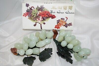 NIB Vintage Chinese Export Carved Green Jade Grape Clusters Pair Stone Glass