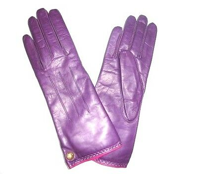 COACH Women's Cashmere Lined Leather Gloves PURPLE PLUM size 7.5  NWT NEW 82821