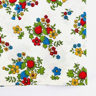 Vintage Cotton Fabric Strawberries and Flowers on White 1960's Red Blue