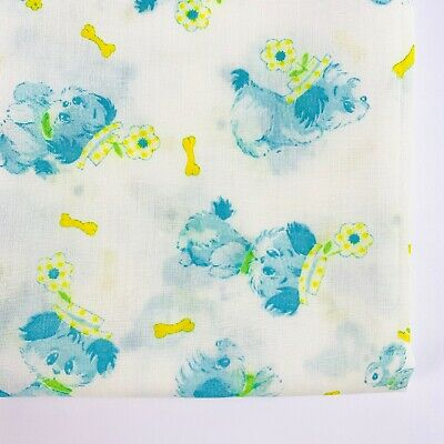 Vintage Fabric Childrens Novelty Print Puppies Dogs Blue Yellow 1960's 1970's