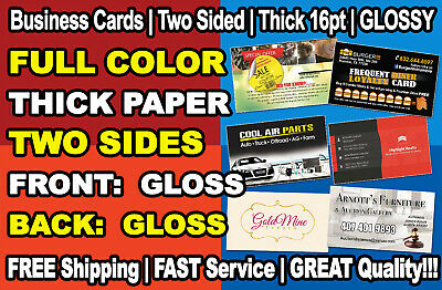 GLOSS 100 Full Color Custom Business Cards - FREE Shipping - Printed 2 Sides