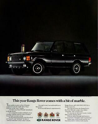1989 RANGE ROVER Black Marble Trophy Four Wheeler of the Year Photo Print AD