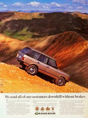 """1992 Range Rover Gold 'Downhill Without Brakes"""" Photo Print AD Steep Incline"""
