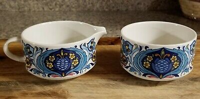 Vintage Villeroy & Boch Izmir Sugar Bowl and Creamer Set 1973 Stack-able.